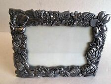 "PEWTER floral desk photo frame holds 5"" x 7"" picture silver heavyweight"