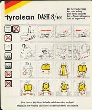 TYROLEAN austrian airlines DASH 8 100 SAFETY CARD ee e260