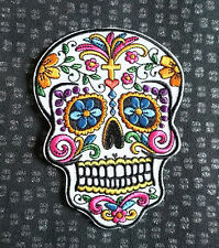Large Embroidered Sugar Skull Patch Heart Flowers Iron on Sew on Biker Badge
