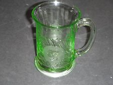 URANIUM GLASS MUG KING GEORGE V & QUEEN MARY SILVER JUBILEE 1910-1935