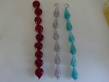 3 Sets of New HAND BLOWN Hollow Glass Beads (21) -Hearts & Swirls-from Beadsmith