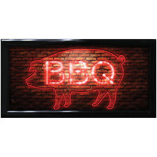 NEW Blinking BBQ Barbecue Pig LED Sign - Kitchen Pub or Bar Light Up Wall Decor