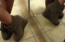 Coole Stiefeletten Sneakers Hidden Wedges Keilabsatz KHAKI Nieten Gr 37