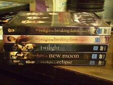 (5) Twilight Saga DVD Lot: Twilight Eclipse New Moon Breaking Dawn 1 & 2