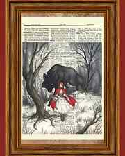 Red Riding Hood Woods Wolf Story Dictionary Art Print Book Wall Hanging OOAK