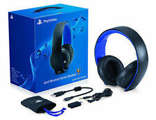 NEW SONY GOLD WIRELESS STEREO HEADSET 7.1 VIRTUAL SUROUND FOR PS4, PS3 & PSVITA
