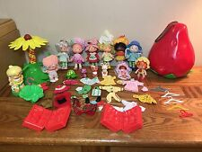 VINTAGE STRAWBERRY SHORTCAKE DOLLS LOT CARRYING CASE PETS CAROUSEL CLOTHES ETC