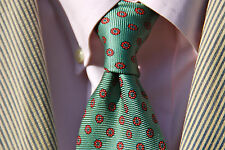 Joe Frank Gentleman's All Silk Mint Green Tie Pink Flowers USA / England