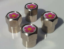 PINK SMILEY FACE PEACE FLOWER ALUMINIUM TYRE VALVE CAPS ALLOY FOR CAR TIRE WHEEL