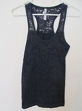 Women's Aeropostale Dark Navy Blue Floral Lace Racerback Tank Top Size Small