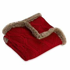 Faux Fur Trimmed Buffalo Plaid Cable Knit Throw Blanket Cozy Warm Decor Home