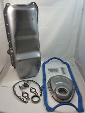 SB Chevy SBC Unplated Raw Steel Oil Pan W/ Timing Cover & Gaskets 87-95 350  V8