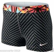 "Women's Nike Pro Zigzag 3"" Dri-fit Print Running Shorts Small Black Gray NWT"