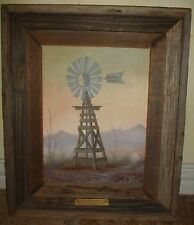 ESTATE OIL PAINTING AERO MOTOR WINDMILL TEXAS SUNSET NOTE ARTIST JO ELLIOTT FORD
