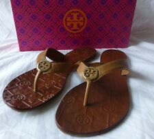 TORY BURCH Thora Royal Tan Gold Logo Tumbled Leather Size 8 New