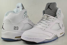Nike Air Jordan Retro V 5 White Metallic Silver Black Size 9.5