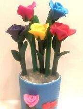 5 Polymer Clay Fimo Flower Rose Red Pink Yellow Blue Purple  Pen Holder