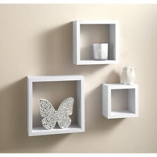 V floating cube shelves set of 3 shelves wall mountable
