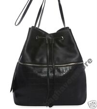 NEW Women's girl's Handbag SACK Black Faux Leather Cross Body Primark Atmosphere