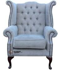 Chesterfield Queen Anne High Back Wing Chair Perla Illusions Grey Velvet
