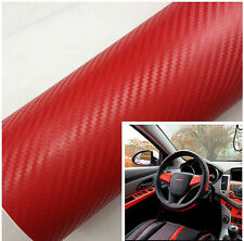 Auto Interior Twill-Weave Red Carbon Fiber Vinyl Wrap Film Sheet Decal Sticker