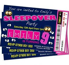 BIRTHDAY PARTY INVITATIONS Girls Sleepover Personalised Ticket Style