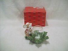 Vintage Fitz & Floyd Omnibus Christmas Mouse Votive Glass Candle Holder 1988