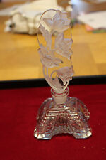 Czech Glassworks Vintage  Crystal Perfume bottle with  Etched Flower Stopper