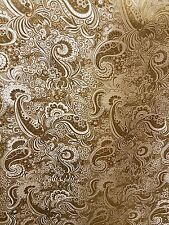 "3MGOLD/WHITE COLOUR PAISLEY METALLIC BROCADE /JACQUARD FABRIC 58"" WIDE cheapest"