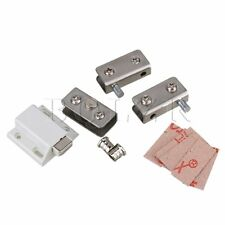 5-8mm Metal Cabinet Glass Pivot Door Lock Hinge Clamps Kits in Silver Tone