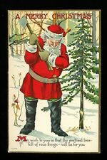 Christmas Santa postcard Red suit axe chopping tree U.S.A C-273 embossed Vintage