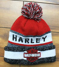 Winter Harley Davidson Pom Knit Beanie Acrylic Medium - Large Teen to Adult