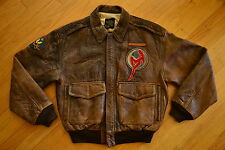 Vintage AVIREX Type A-2 Chinese Air Force AVG Hells Angels Leather Jacket Size S