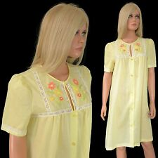 Vintage Gossard Artemis ULTRA THIN Yellow Embroidered Housecoat Short Lingerie