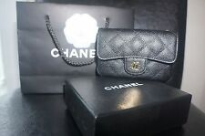 NEW Chanel Black Caviar Card Holder Case Coin Purse Wallet