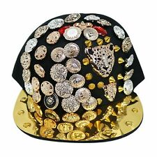 Bling Bboy Caps Hiphop Flat Peak Snapback Baseball Cap Hat (2x-Cat / Black 004)