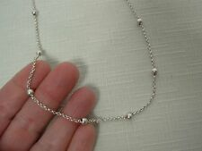 """925 STERLING SILVER MARKED """"KC"""" ITALY CHAIN NECKLACE w BALL BEADS 15 3/4"""""""
