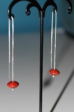 New 925 Sterling Silver  Pull Through Red Coral Beads Chains Threader Earrings