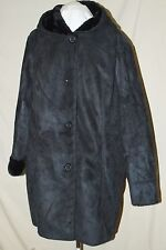 DENIM & CO.FAUX SUEDE WHIPSTITCHING COAT W/ FAUX FUR HOOD BLACK L FEELS REAL