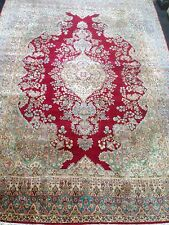 """Vintage Persian Kerman/ Kirman hand-knotted rug 8'9"""" By 12'4"""" Red/ Ivory"""