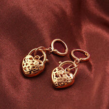 Heart Rose Gold Filled Womens cute flower Clip On Dangle Earrings Girls