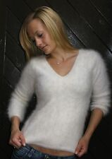 "White Soft Fluffy Furry Angora Sweater Jumper 32"" S River Island Chic 14.99"