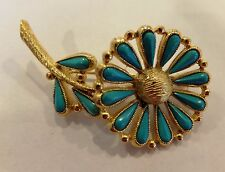 Vintage Signed BSK Turquoise Daisy & Leaves  Flower  Brooch