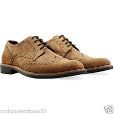 Redfoot Faraday Suede Brogue Tan Gents Mens Lace Up Shoes UK 9/Euro 43