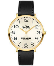 NWT COACH New York ❤️COACH SLIM EASTON BLACK LEATHER WOMEN WATCH 14502683 35mm❤️