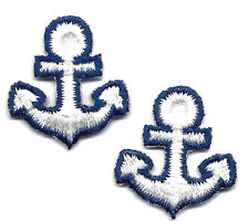 NAUTICAL-WHITE ANCHOR w/NAVY (2) - Iron On  Embroidered Applique, Marine