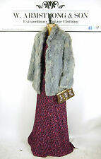 VINTAGE Grey Silver REAL CONEY RABBIT FUR Short Glam Diva Party Jacket UK 12
