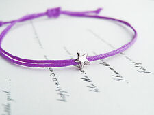 tiny silver star lilac purple cotton cord string adjustable friendship bracelet