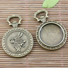 3pcs antiqued bronze round cabochon setting with rabbit pattern EF2505