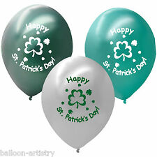21 Green White Happy St. Patrick's Day Printed Latex Balloons SHAMROCKS